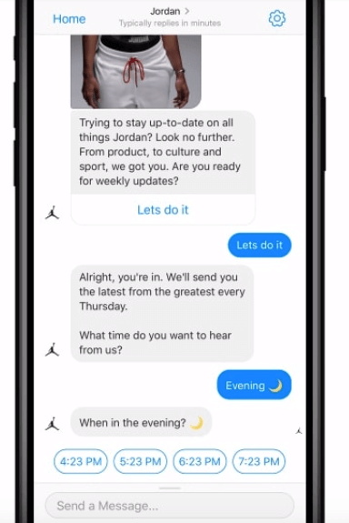 Messenger chatbot when would you like to get updates
