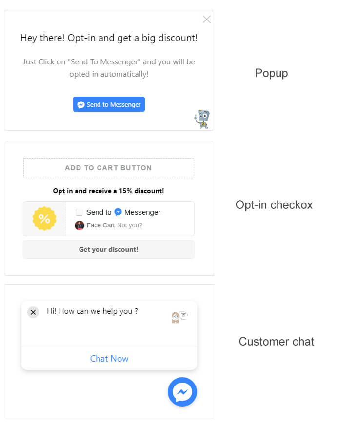 Tobi application opt-in popup messenger chat box