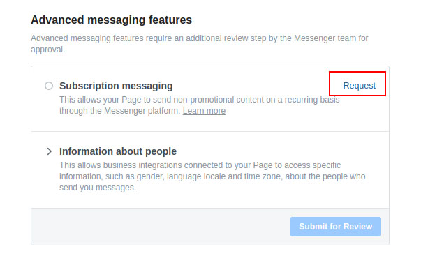 Advanced messaging settings Request button